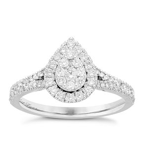 Neil Lane 14ct White Gold 0.60ct Diamond Pear Cluster Ring - Product number 8405964