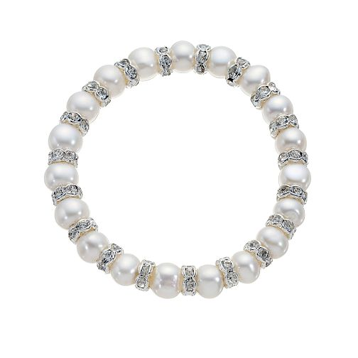 Silver Plated Crystal and Cultured Pearl Stretch Bracelet - Product number 8406898