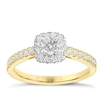 Tolkowsky 18ct Yellow Gold 1/2ct Cushion Halo Diamond Ring - Product number 8413665