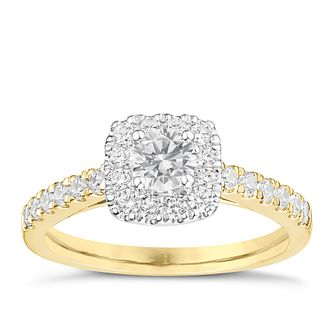 Tolkowsky 18ct Yellow Gold 3/4ct Cushion Halo Diamond Ring - Product number 8414084
