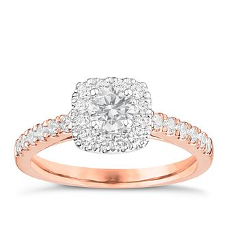 Tolkowsky 18ct Rose Gold 3/4ct Cushion Diamond Halo Ring - Product number 8414211
