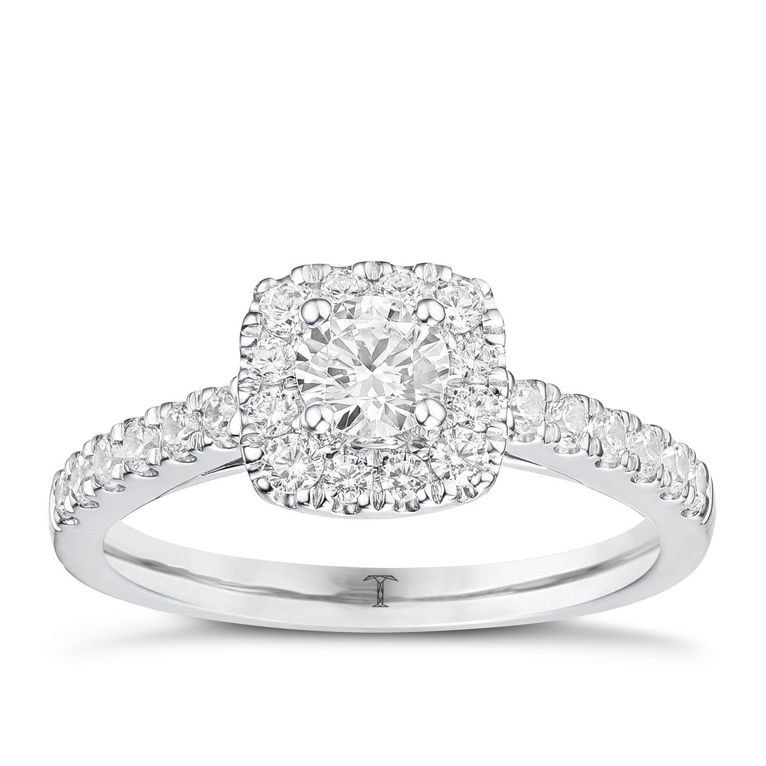 Tolkowsky Platinum 3/4ct Cushion Halo Diamond Ring - Product number 8414343