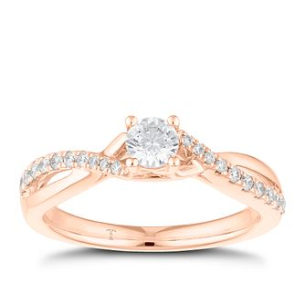 Tolkowsky 18ct Rose Gold 0.38ct Total Diamond Solitaire Ring - Product number 8415471