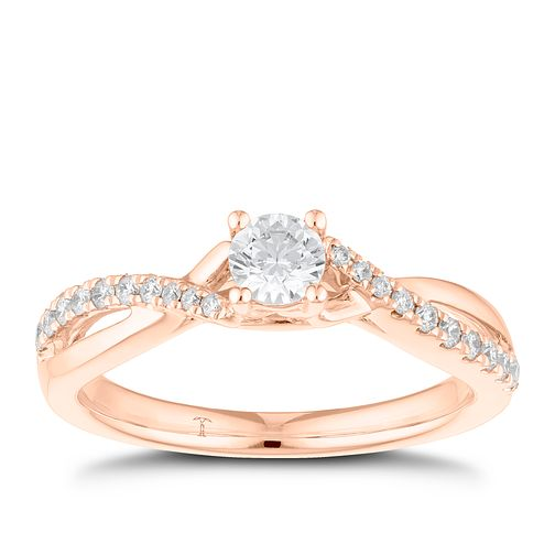 Tolkowsky 18ct Rose Gold 0.38ct Diamond Solitaire Ring - Product number 8415471