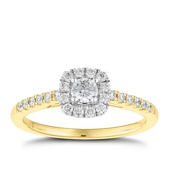 Tolkowsky 18ct Yellow Gold 0.38ct Diamond Halo Ring - Product number 8417695
