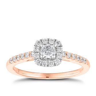 Tolkowsky 18ct rose gold 0.38ct Diamond Halo Ring - Product number 8417865