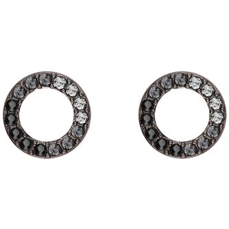 DKNY Thick Pave Crystal Circle Rhodium Plated Stud Earrings - Product number 8422400