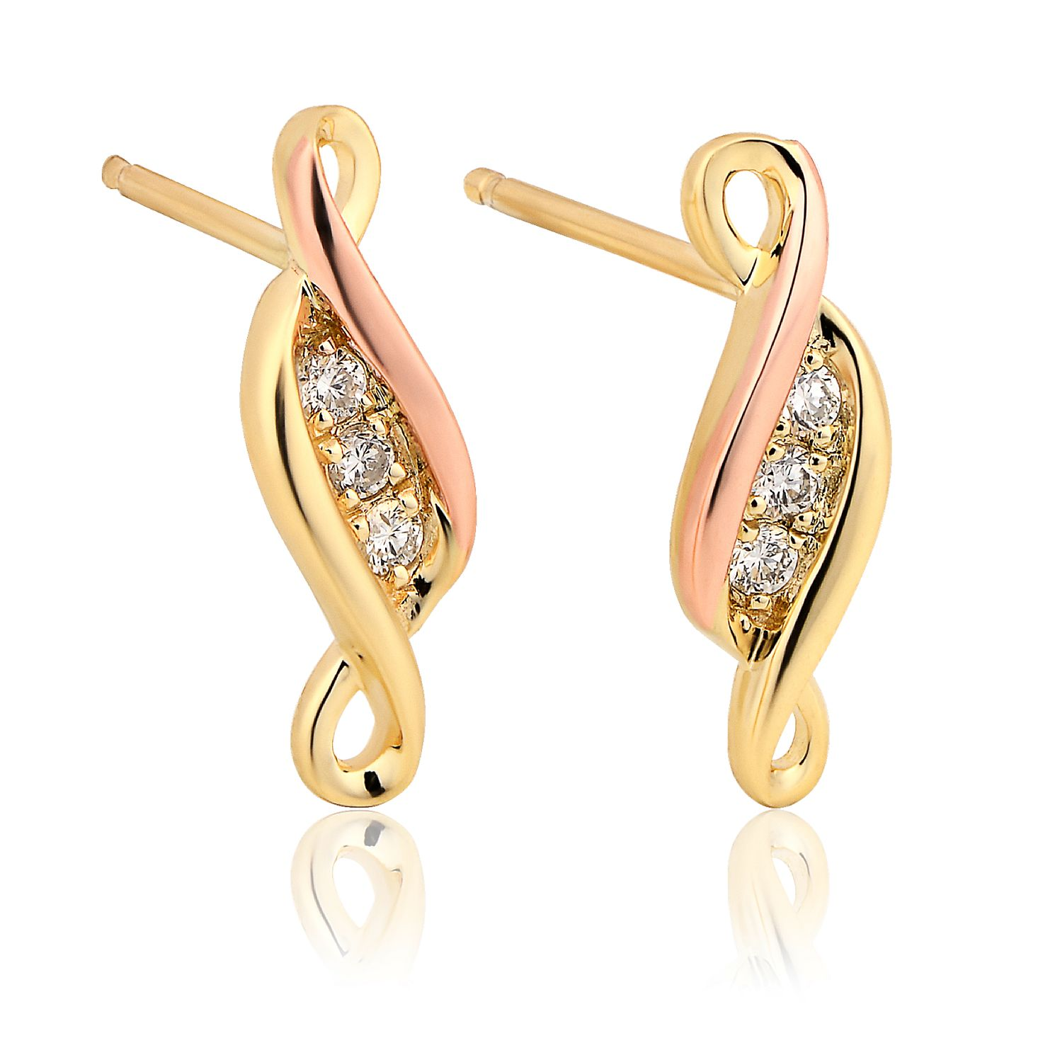 Clogau 9ct Gold Past Present Future Diamond Stud Earrings - Product number 8423121