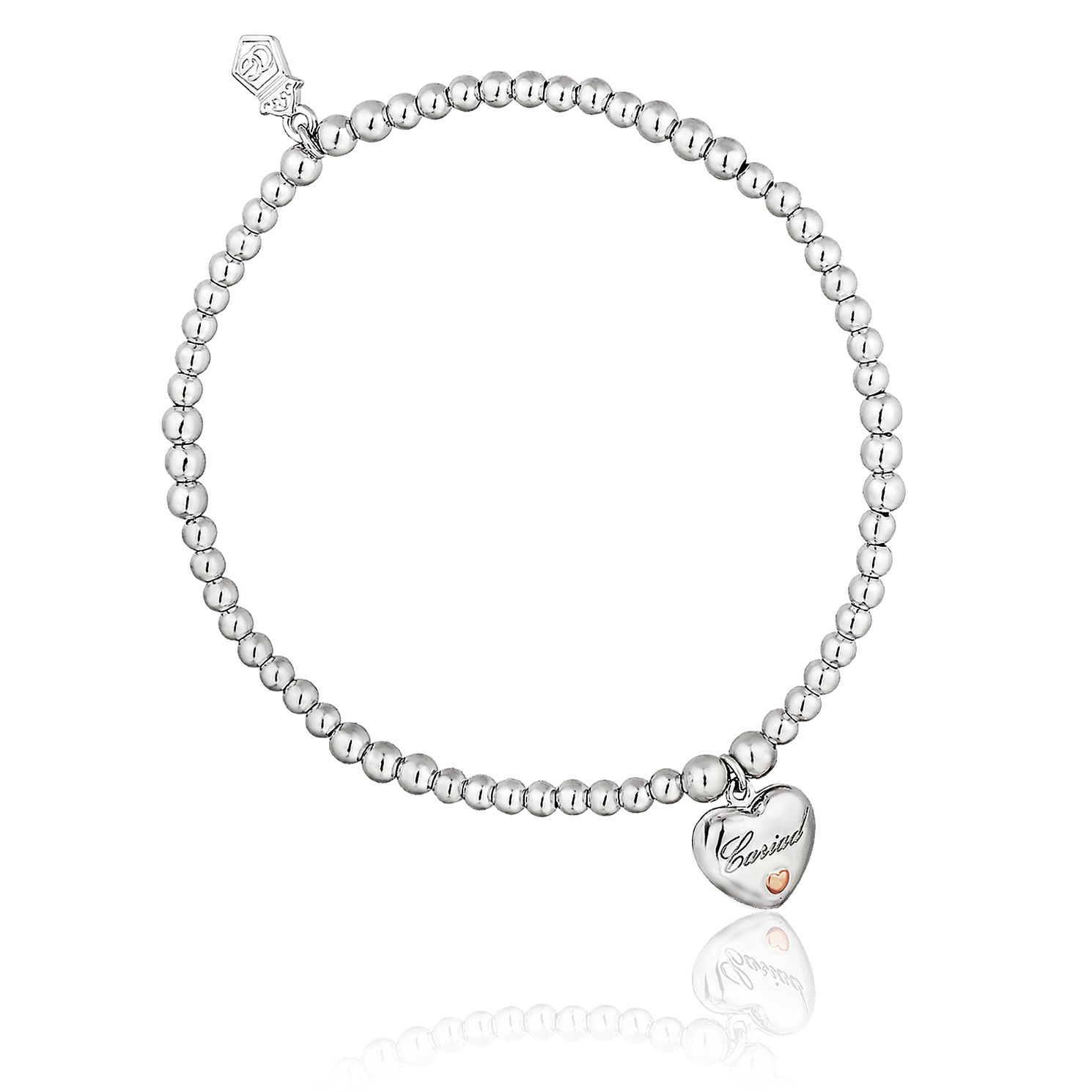 Clogau Silver & 9ct Rose Gold Cariad Heart Bead Bracelet - Product number 8423334