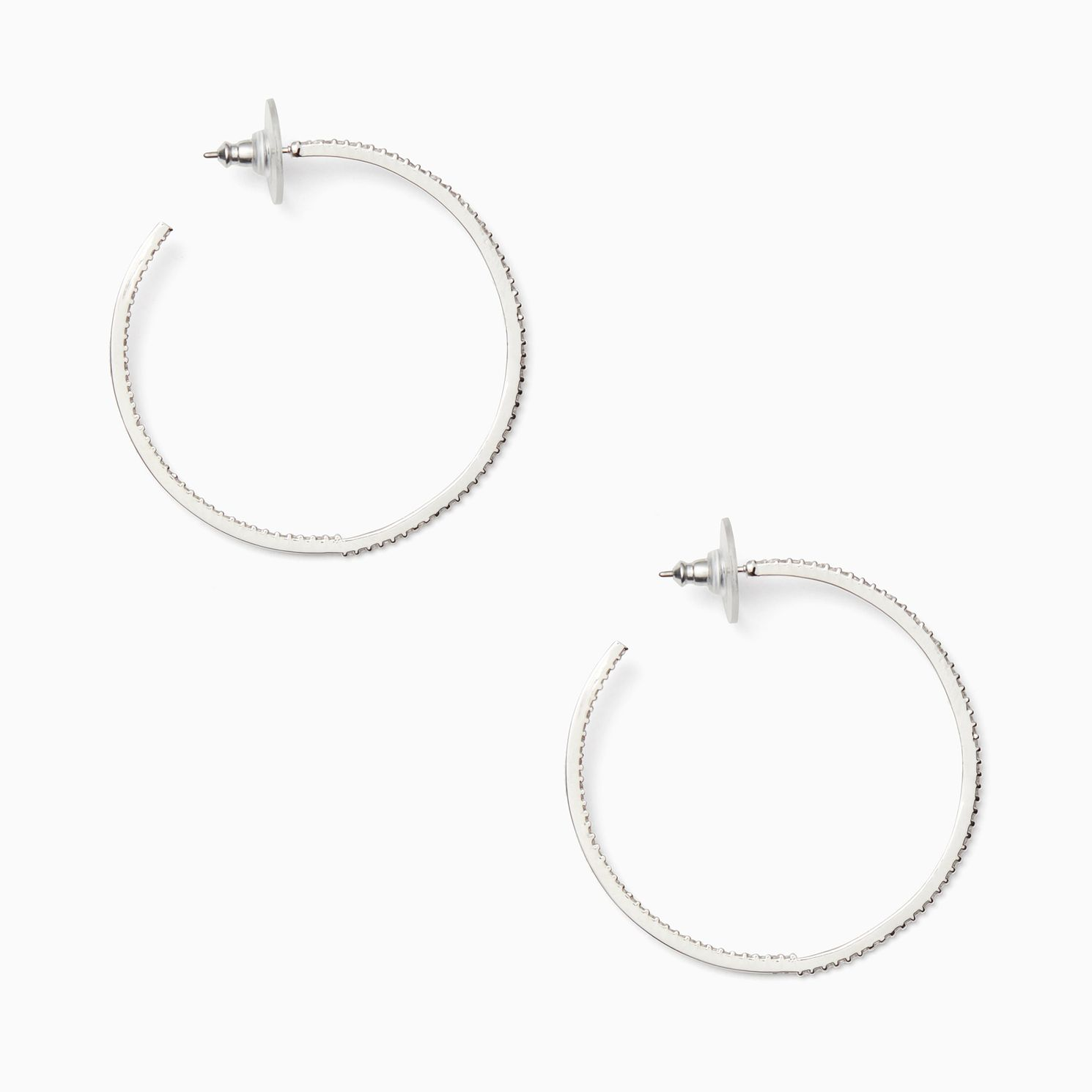 Kate Spade Rhodium Plated Save The Date Large Hoop Earrings - Product number 8424764