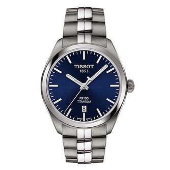 Tissot Pr100 Men's Titanium Blue Dial Bracelet Watch - Product number 8424772
