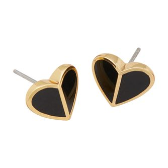 Kate Spade Gold Tone & Black Enamel Heritage Heart Earrings - Product number 8425310