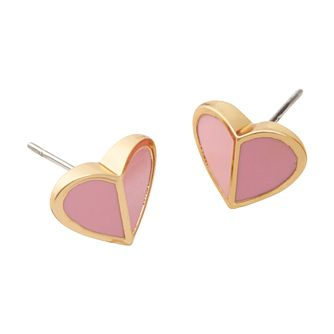 Kate Spade Gold Tone & Pink Enamel Heritage Heart Earrings - Product number 8425361