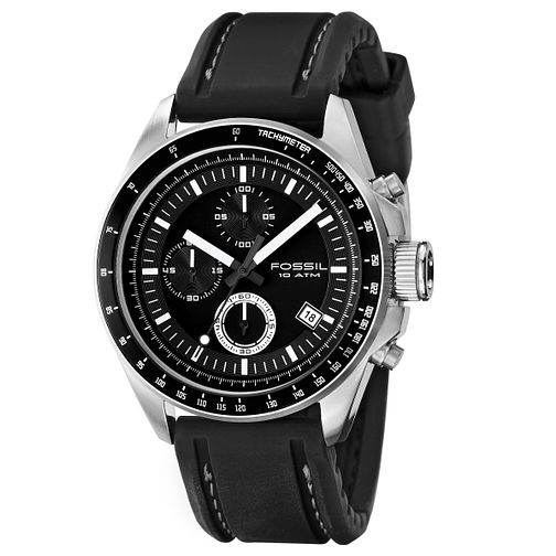 Fossil Men's Black Rubber Strap Watch - Product number 8429839