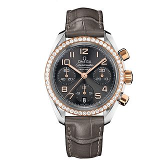 Omega Speedmaster Diamond Ladies' Black Leather Strap Watch - Product number 8442959