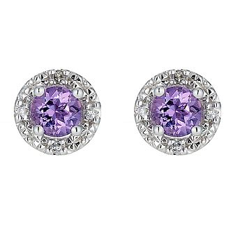 9ct White Gold Amethyst and Diamond Stud Earrings - Product number 8444900