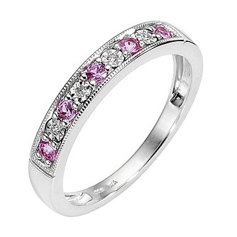 9ct White Gold Pink Sapphire & Diamond Milgrain Ring - Product number 8444978