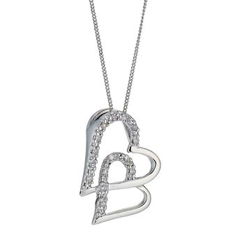 9ct White Gold Diamond Double Heart Pendant - Product number 8445583