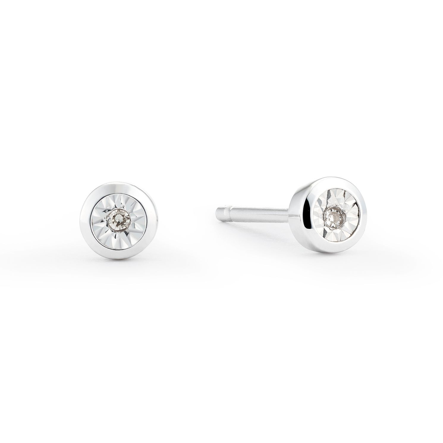 9ct White Gold Diamond Rub Over Stud Earrings - Product number 8445621
