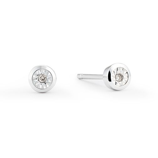 4a3f9785d 9ct White Gold Illusion Set Diamond Rub Over Stud Earrings - Product number  8445621