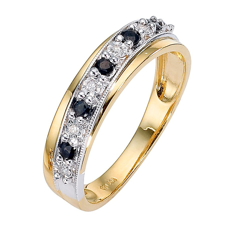 9ct Gold Two Colour Sapphire and Diamond Crossover Ring - Product number 8446547