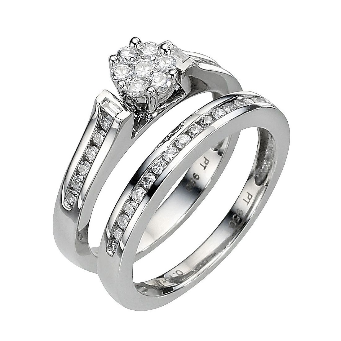 Perfect Fit Platinum 1/2ct Diamond Flower Shaped Bridal Set - Product number 8453047