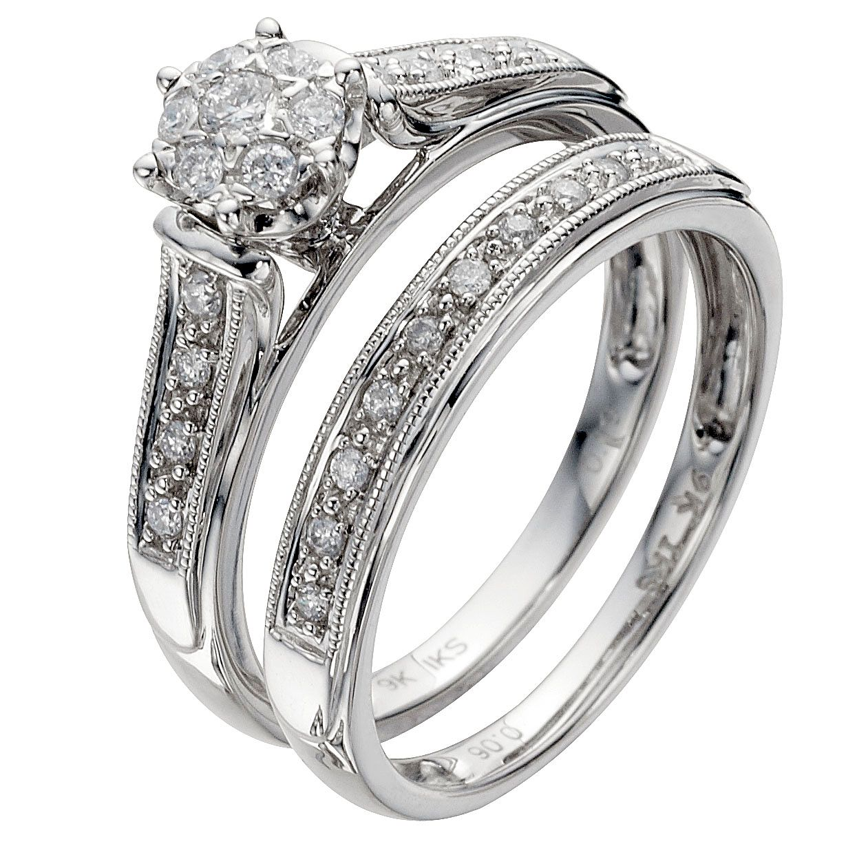 9ct White Gold 1/4ct Diamond Perfect Fit Bridal Set - Product number 8455082