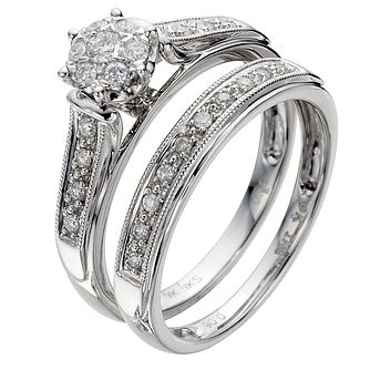 Perfect Fit 9ct White Gold 0.25ct Total Diamond Bridal Set - Product number 8455082