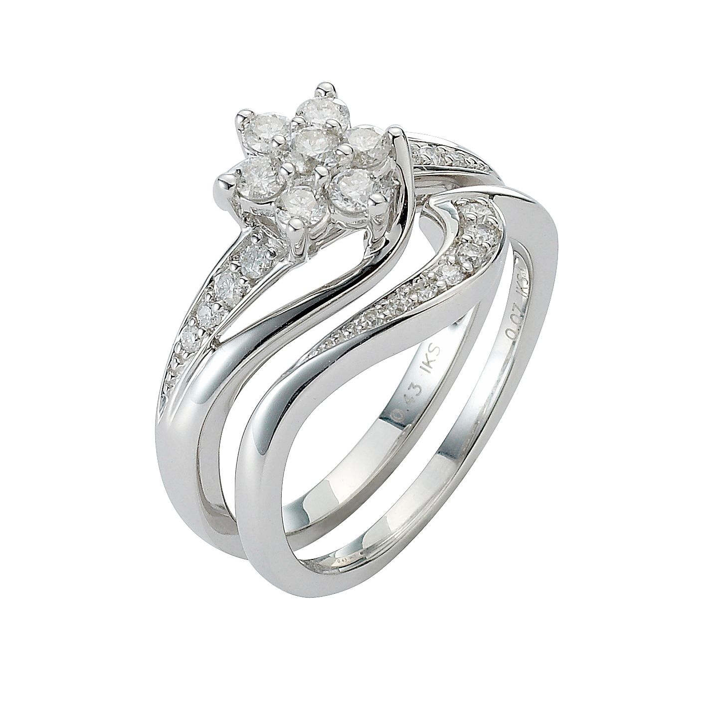 Perfect Fit 9ct White Gold 0.50ct Total Diamond Bridal Set - Product number 8455473
