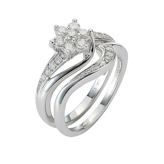 Perfect Fit 9ct White Gold 1/2ct Diamond Daisy Bridal Set - Product number 8455473