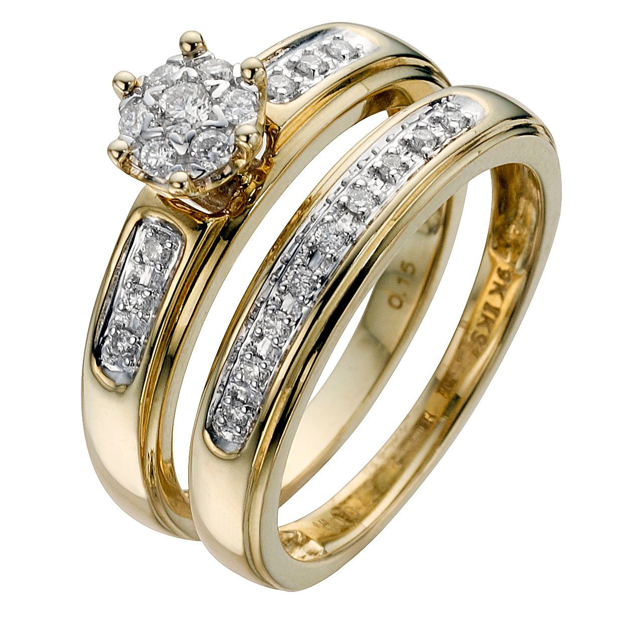 9ct Yellow Gold 1/5ct Diamond Perfect Fit Bridal Set - Product number 8455880
