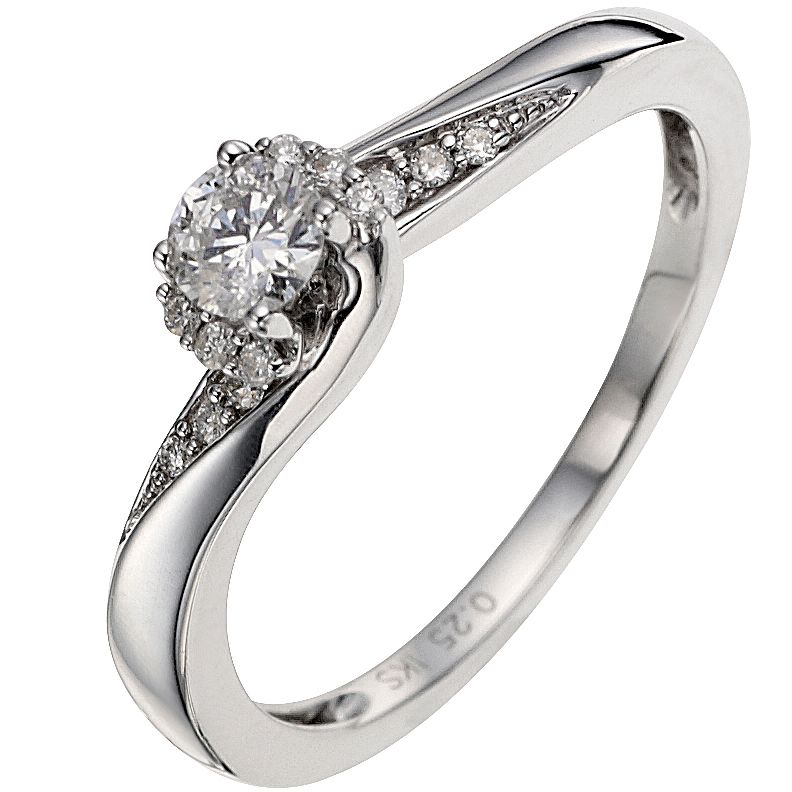 9ct White Gold ¼ Carat Diamond Solitaire Ring - Product number 8460752