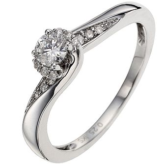 9ct White Gold 0.25ct Total Diamond Twist Solitaire Ring - Product number 8460752