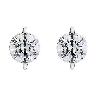 9ct White Gold Cubic Zirconia Stud Earrings - Product number 8467161