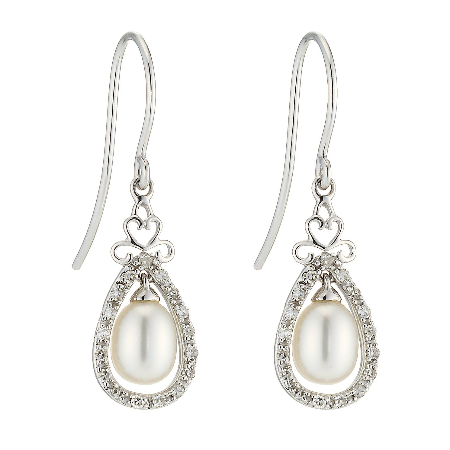 9ct White Gold Cultured Freshwater Pearl & Diamond Earrings - Product number 8467366