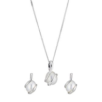 Sea Mist 9ct white gold pearl pendant & earrings gift set - Product number 8467374