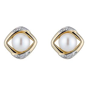9ct White Gold Cultured Freshwater Pearl & Diamond Earrings - Product number 4295455