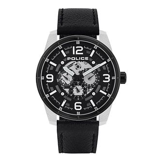 Police Lawrence Men's Black Leather Strap Watch - Product number 8467749