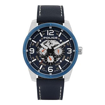 Police Lawrence Men's Dark Blue Leather Strap Watch - Product number 8467765