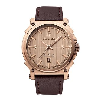 Police Parksley Brown Leather Strap Watch - Product number 8467994