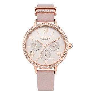 Lipsy Crystal Ladies' Pink PU Strap Watch - Product number 8468109