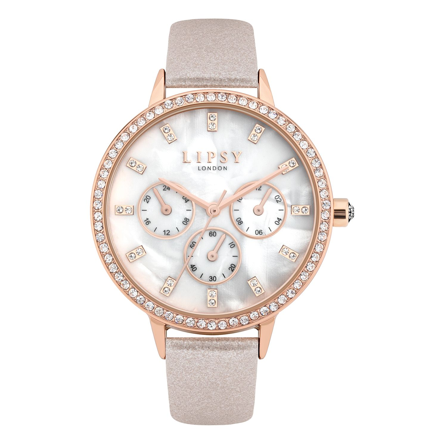 Lipsy Crystal Ladies' Mink Pearlised PU Strap Watch - Product number 8468176