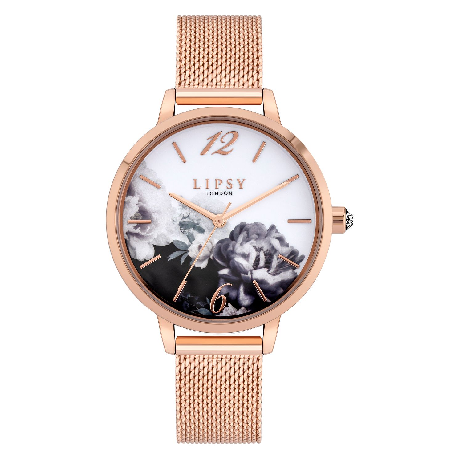 Lipsy Floral Ladies' Rose Gold Tone Mesh Bracelet Watch - Product number 8468184