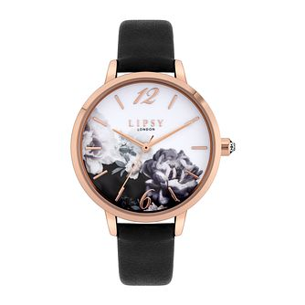 Lipsy Floral Ladies' Black PU Strap Watch - Product number 8468400