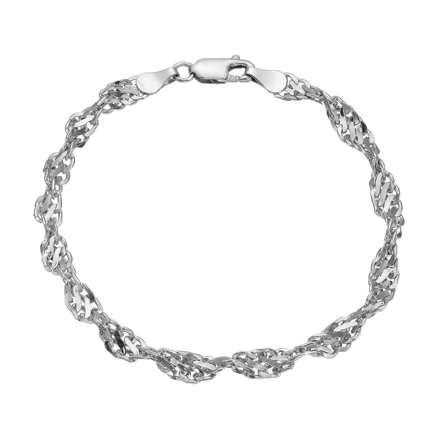 9ct White Gold Cut Out Twist Bracelet 7.5