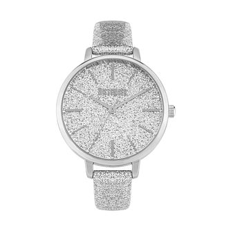 Missguided Glitter Dial Ladies' Silver Glitter Strap Watch - Product number 8468699