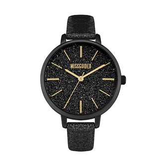 Missguided Glitter Dial Ladies' Black Glitter Strap Watch - Product number 8468702