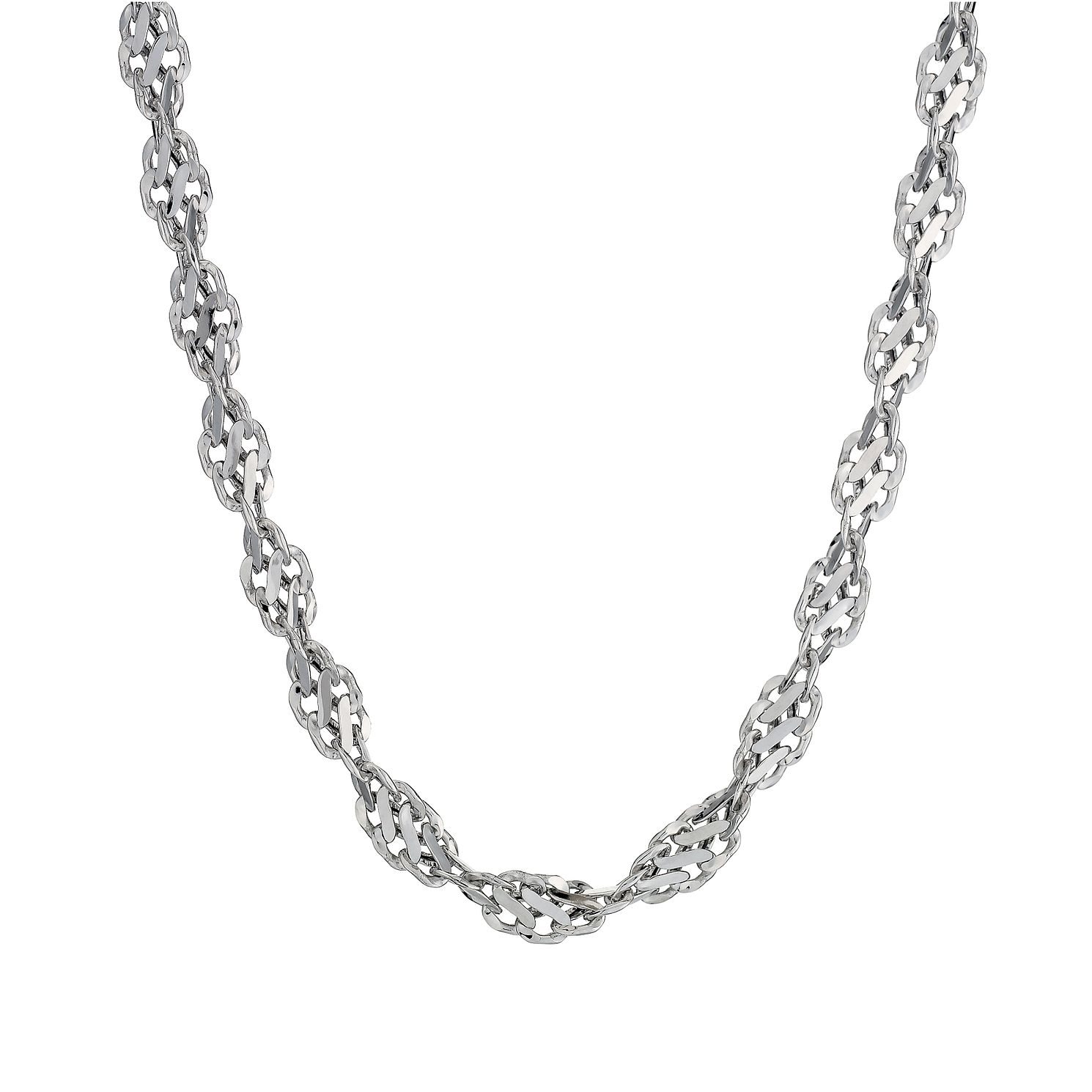 9ct White Gold Cut Out Twist Necklace 18