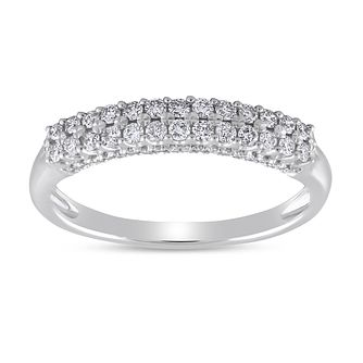 9ct White Gold 1/3ct Diamond Double Row Eternity Ring - Product number 8470561