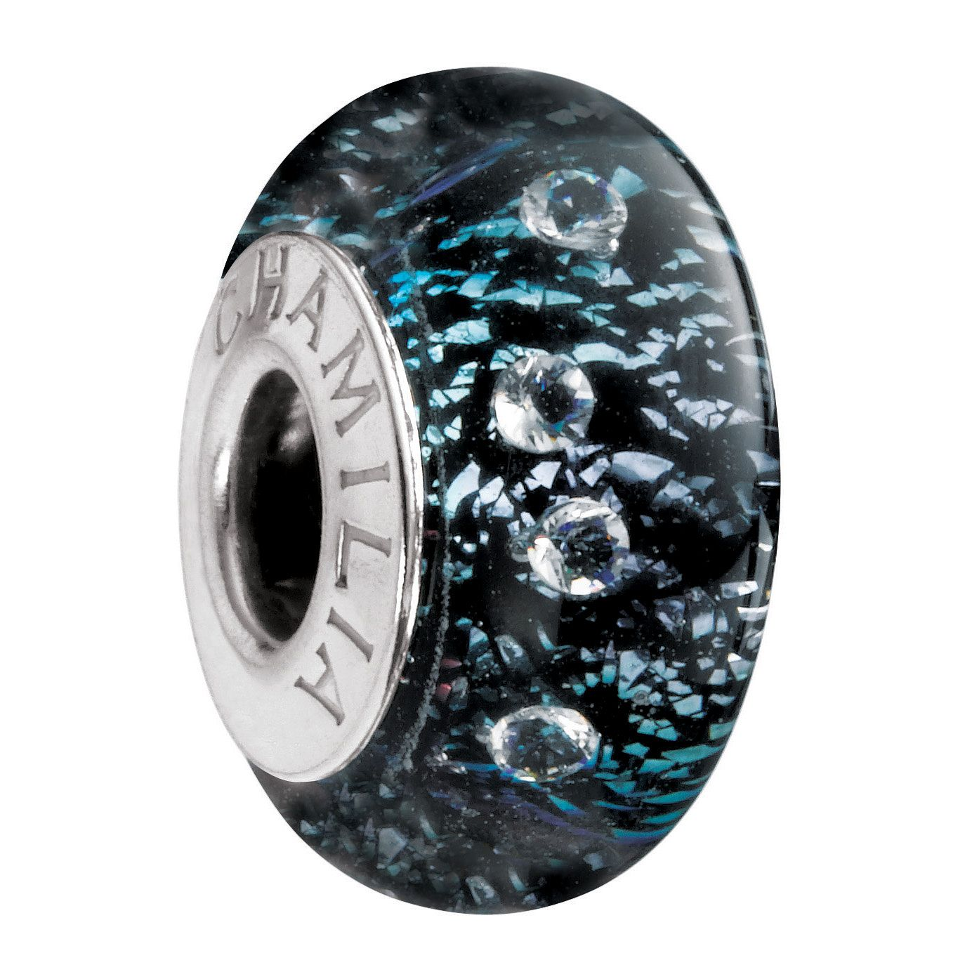 Chamilia - Radiance Murano glass & silver black shine bead - Product number 8473080